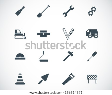Vector black  construction icons set - stock vector