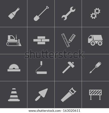 Vector black  construction icons set - stock vector