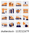 vector black construction icons set on gray - stock photo