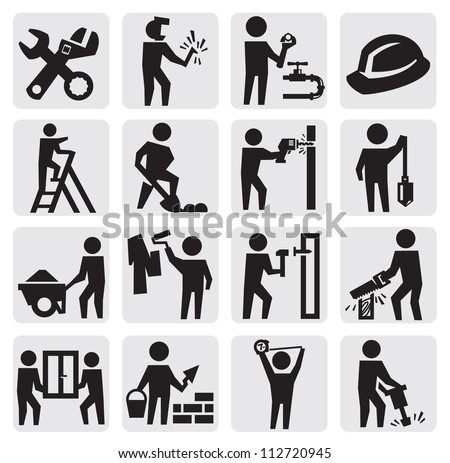 vector black construction people icon set on gray - stock vector