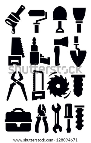 vector black construction tools icons set on whiye - stock vector