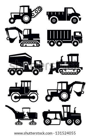 vector black construction transport icon set on white - stock vector