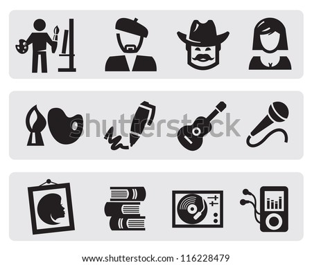 vector black creative professions icons set on gray - stock vector