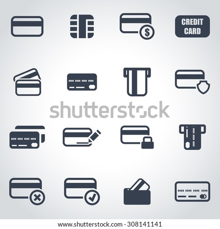 Vector black credit card icon set. - stock vector