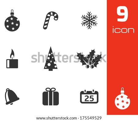 Vector black cristmas icons set on white background