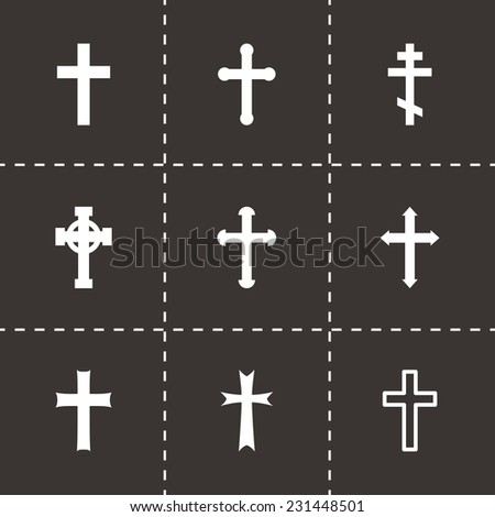 Vector black crosses icon set on black background - stock vector