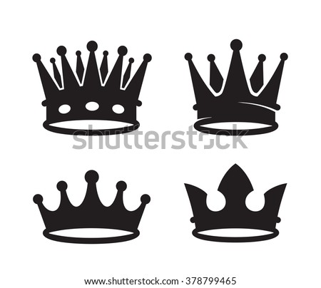 vector black crown icons on white background - stock vector