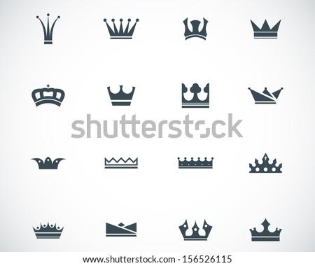 Vector black  crown  icons set - stock vector