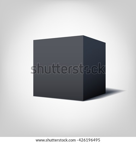 Vector Black cube isolated on white background