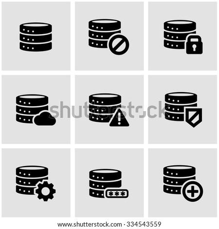 Vector black database icon set. Database Icon Object, Database  Icon Picture, Database Icon Image, Database Icon Graphic, Database Icon JPG, Database Icon EPS, Database Icon AI - stock vector - stock vector