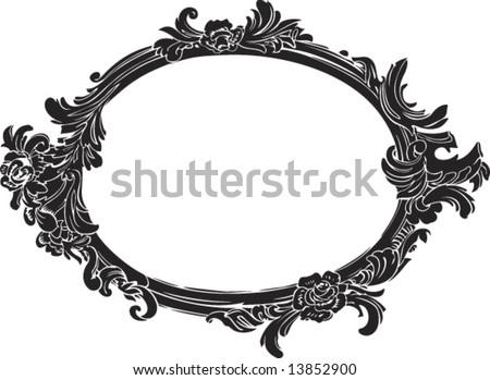 vector black decorative oval frame