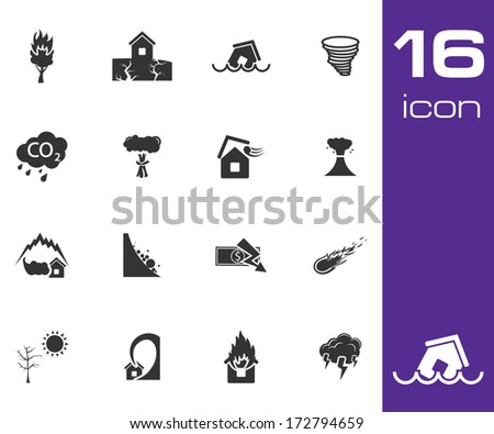 Vector black  disaster icons set on white background - stock vector