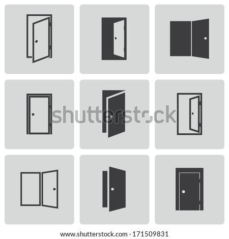 Vector black door icons set on white background - stock vector