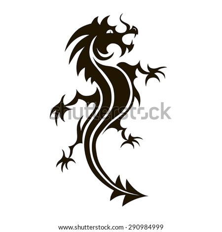 Vector black dragon on a white background