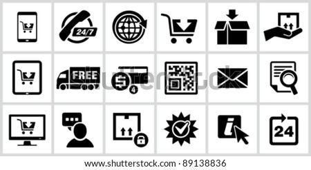 Vector black E-commerce icons set. - stock vector