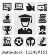 vector black education icon set on gray - stock vector