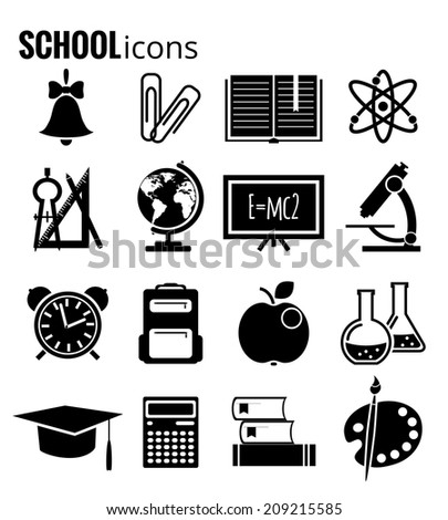 vector black education icons set. EPS 10