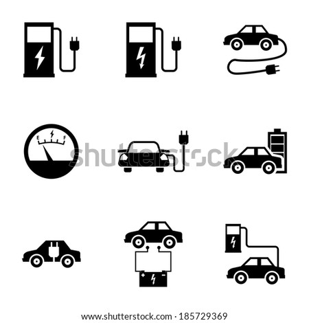 Vector black electric car icons set white background - stock vector