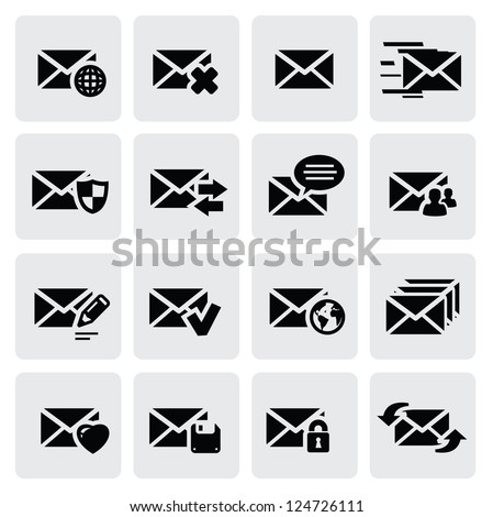 vector black email icons set on gray - stock vector