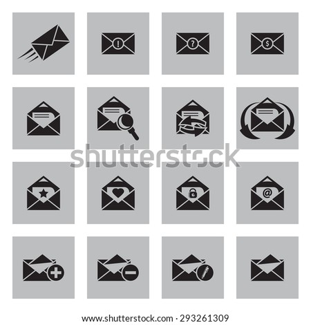 Vector black Email icons set on grey background - stock vector