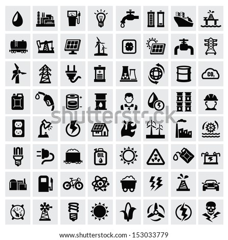 vector black energy icons set on gray