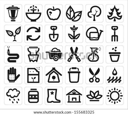 vector black farming and garden icon set - stock vector