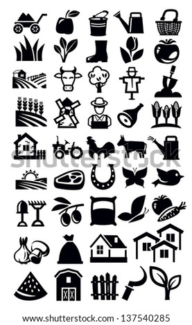 vector black farming icon set on white - stock vector