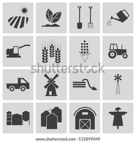 Vector black  farming icons set - stock vector