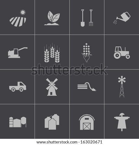 Vector black  farming icons set - stock vector