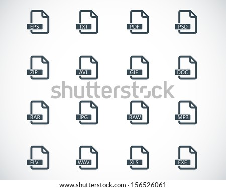 Vector black  file format  icons set - stock vector