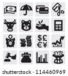 vector black financial icons set on gray - stock vector