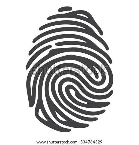 Vector black fingerprint isolated on white background. Security technology - stock vector