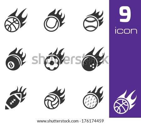 Vector black fire sport balls icons set on white background - stock vector