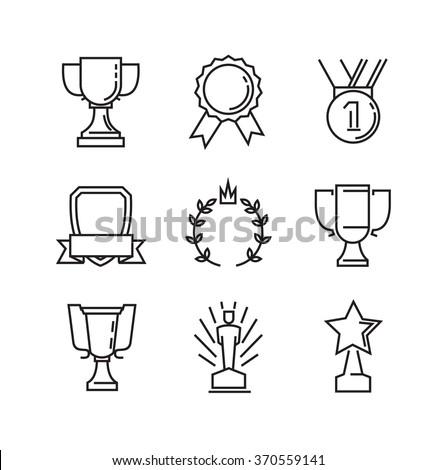 vector black flat award icons on white - stock vector