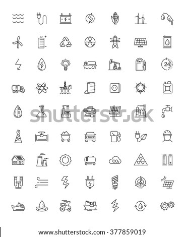 vector black flat energy icons on white - stock vector