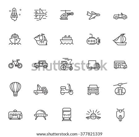 vector black flat transport icons on white - stock vector