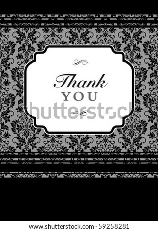 Vector black floral frame with sample  text and borders. Perfect as invitation or announcement. All pieces are separate. Easy to change colors and edit. - stock vector