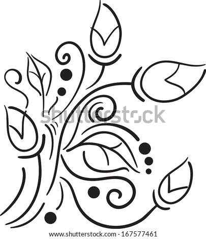 Vector black floral pattern on a white background - stock vector