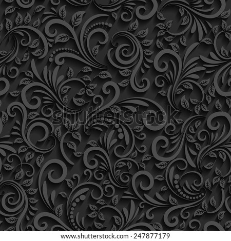 Vector black floral seamless pattern with shadow. For invitation cards, decor and decorating weddings or other festive events - stock vector