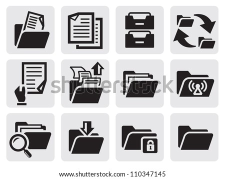 vector black folder icons set on gray - stock vector