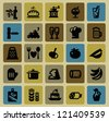 vector black food icons set on color - stock vector