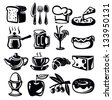 vector black food icons set on whiye - stock vector