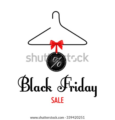 Vector. Black Friday sales. Black clothes rack with price tags red bow.