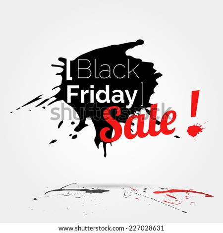 vector Black Friday watercolor banner with splashes of ink - stock vector