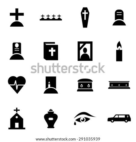 Vector black funeral icon set.  - stock vector