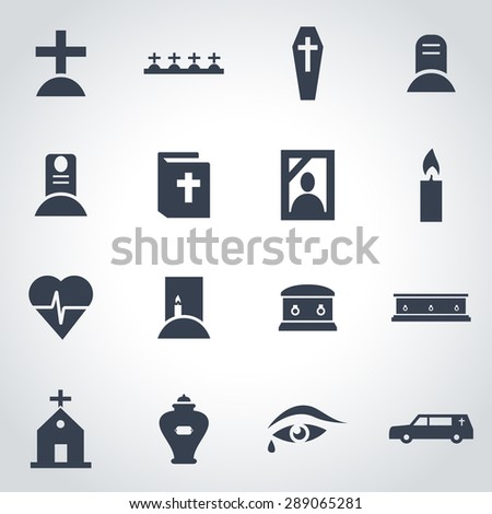 Vector black funeral icon set on grey background - stock vector