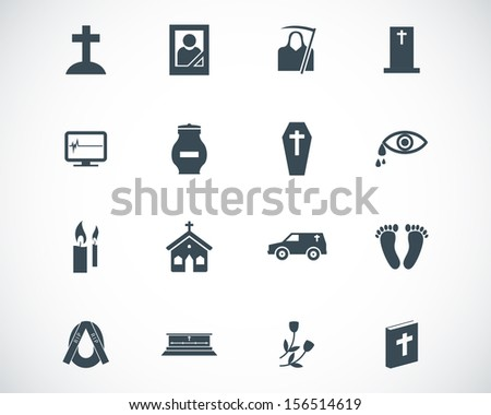 Vector black  funeral icons set - stock vector