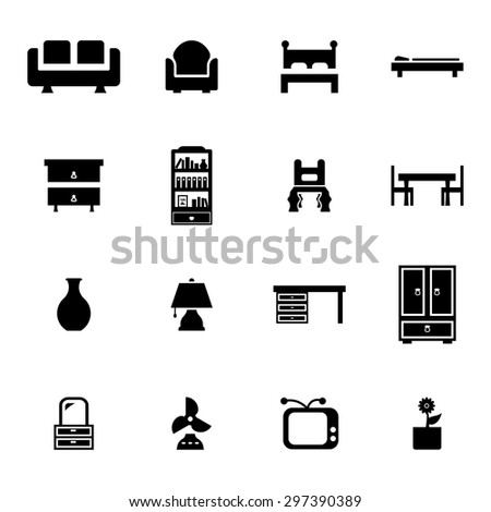 Vector black furniture icon set on white background - stock vector