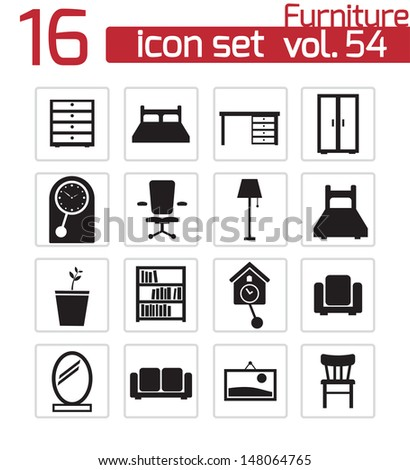 Vector black furniture icons set - stock vector