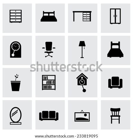 Vector black furniture icons set on grey background - stock vector